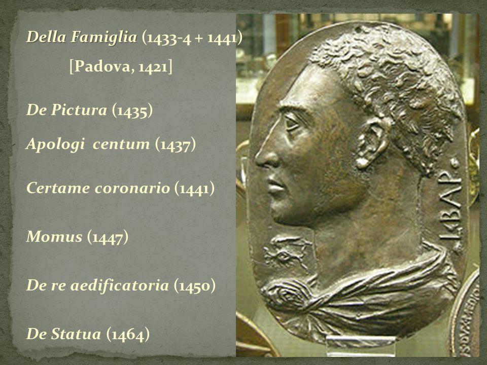 Della Famiglia (1433-4 + 1441) [Padova, 1421] De Pictura (1435) Apologi centum (1437) Certame coronario (1441)